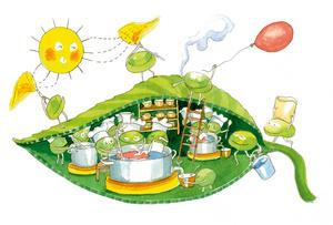 Kasvien lehtien viherhiukkaset sisältävät lehtivihreää eli klorofylliä. Vihreät kasvit yhteyttävät. Ne tuottavat auringonvalosta, hiilidioksidista ja vedestä sokeri ja happea.